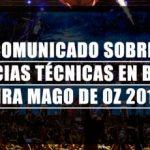 """Comunicado """"Carencias Técnicas en Bolivia"""" Mägo de Oz 2018"""